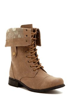 Carrini Brown Lace Lining Fold Down Combat Boots Size 9