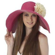 Luxury Lane Women's Rose Pink Floppy Sun Hat with White Flower Appliques