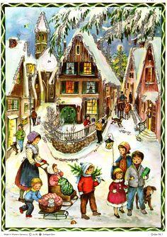 Vintage Richard Sellmer West Germany Advent Calendar Village Scene With Glitter German Advent Calendar, Chocolate Advent Calendar, Advent Calendars, Christmas Tunes, Christmas Past, Xmas, Vintage Postcards, Vintage Cards, German Christmas