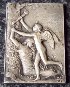 Winged Angel Antique Exposition International 1900 Silver Plate Plaque Medallion Silver Plate, Wings, Angel, Plates, Statue, Antiques, Art, Licence Plates, Craft Art