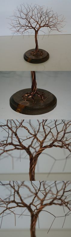 Another wire tree! This one is made from many different brown and copper wires. I like the knot in the wood base on this one.