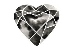 Geometric Heart Watercolor Painting Diamond Heart by GeometricInk Hart Tattoo, Modern Tattoos, Black Tattoos, Scandinavian Paintings, Heart Artwork, Watercolor Heart, Watercolor Painting, Diamond Tattoos, Girls With Sleeve Tattoos