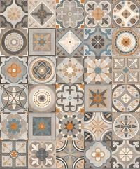 Carrelage imitation anciens carreaux de ciment décor formes géométriques 60x60 cm