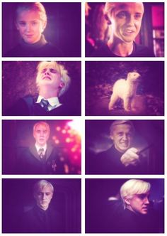 "Draco Malfoy over the years I really like that for year 4 they put ""Malfoy the Amazing Bouncing Ferret"""