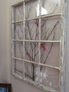 Old Window Frame Decor New Window Frame Art by On Etsy Antique Windows, Wooden Windows, Vintage Windows, Old Windows Painted, Decorative Windows, Painting On Windows, Recycled Windows, Reclaimed Windows, Vintage Doors