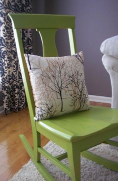 This is a nice chartreuse, but I probably won't use it on my chairs.  I just like the serene pillow against the green of the chair.