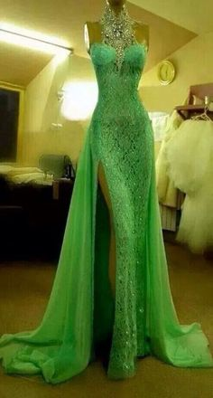 High Quality Halter Prom Dresses,Beaded Lace Formal Dresses,Side Split Sexy Evening Dresses on Luulla Green Wedding Dresses, Prom Dresses, Formal Dresses, Dress Prom, Beaded Dresses, Dress Long, Halter Dresses, Sexy Dresses, Formal Prom