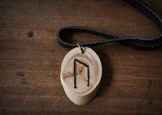 URUZ rune necklace  Wooden rune necklace  Juniper pendant