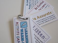 This set of mini-cards includes 39 fun activities to reinforce learning skills like organization, perseverance, memory, listening, etc. Send home as a homework warm-up or to review important learning skills over the summer. $