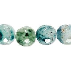 Bead, green spotted quartz (natural), 13-14mm faceted round, C grade, Mohs hardness 7. Sold per 7-inch strand.