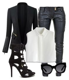 """""""Untitled #93"""" by iahast on Polyvore featuring Balmain, Chicwish and Karen Walker"""