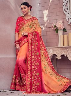 34bb0a5cfa1c13 Style and design and pattern could be on the peak of your attractiveness  once you dresses this pink art silk and chiffon satin designer traditional  saree.