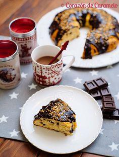 Roscon de reyes chocolate y naranja Chocolate, French Toast, Sweets, Baking, Coffee, Breakfast, Christmas, Drinks, Food
