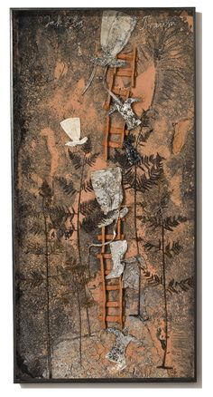 ANSELM KIEFER Jakobs Traum, 2010. Paint, clay, ash, and chalk on board with iron, resin ferns, cotton and linen dresses, and ceramic ladder  280 x 140 cm