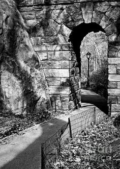 Stone Arch in The Ramble of Central Park - BW - photograph by James Aiken. Fine art prints and posters for sale.