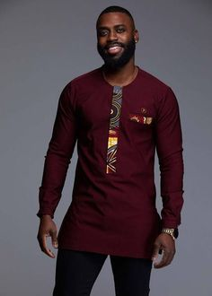 African Clothing for Men - Modern African Clothing Online Men's Tops - Bakari Men's African Print Long Sleeve Trad Shirt (Yellow/Blue Multipattern) Couples African Outfits, African Dresses Men, Latest African Fashion Dresses, African Print Fashion, Ankara Fashion, Africa Fashion, African Prints, African Fabric, African Wear Styles For Men