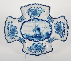 ANTIQUE DELFT BLUE & WHITE PORCELAIN DISH SIGNED MAKKUM in Pottery & Glass, Pottery & China, Art Pottery   eBay