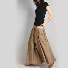 I love the free spirit of this shop at Etsy.  The make such happy fashion. This long skirt is my favorite.  (Red Pocket Long Skirt by Idea2Lifestyle)