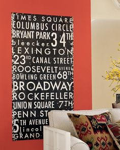 subway art- famous street names/ or names of all the streets you've lived on. you can use anything with subway art