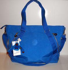 "NEW NWT KIPLING Fleur Blue Tote Crossbody Shoulder Bag Strap + Handles Nylon 18"" #Kipling #TotesShoppers"