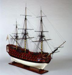 Modelo de astillero. - Armada Española - Ministerio de Defensa - Gobierno de España. Vista general del modelo del navío Santísima Trinidad visto desde la amura de estribor.