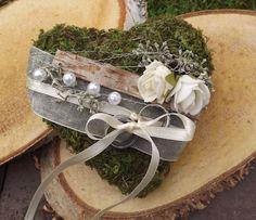 Ringkissen Ringhalter Moos Herz creme Rosen für Eheringe Hochzeit Liebe