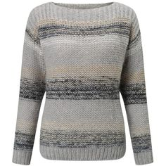 Numph Charlie Stripe Jumper, Grey Melange (3.975 RUB) ❤ liked on Polyvore featuring tops, sweaters, nordic sweater, boatneck sweater, striped top, grey sweater and boat neck striped top
