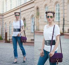Get this look: http://lb.nu/look/8667145  More looks by Miha Teicu: http://lb.nu/skinny_buddha  Items in this look:  Waist Belt, Cut Out T Shirt