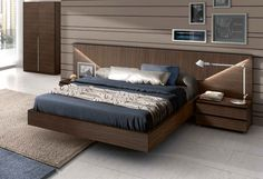 floating wooden bed