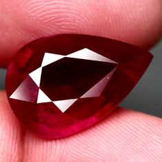 11.65CT.RAVISHING! PEAR FACET TOP BLOOD RED NATURAL RUBY MADAGASCAR NR! #GEMNATURAL