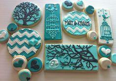 Teal Rustic Engagement Cookies - HayleyCakes And Cookies