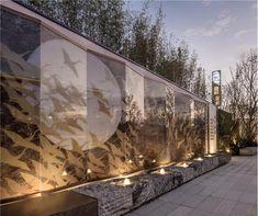 Landscape Architecture Design, Landscape Walls, Chinese Architecture, Landscape Lighting, Japanese Garden Backyard, Asian Garden, Garden Pool, Feature Wall Design, Italy House