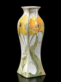 Samuel Schellink for Rozenburg Pottery, The Hague, Netherlands. Square baluster vase with decoration of tulips, 1909.