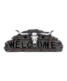 Longhorn Skull 'Welcome' Wall Art