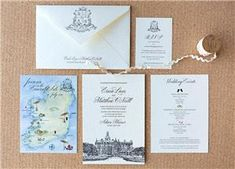 Erica & Matthew's bespoke wedding invitation featuring a black letterpress venue illustration, scripted black font, watercolour map and a monogram on the envelope on 2 ply cotton paper from Appleberry Press Bespoke Wedding Invitations, Wedding Stationery, Map Invitation, Invites, Ireland Map, Ireland Wedding, Free Wedding, Unique Weddings, Letterpress