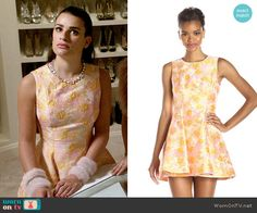 Hester's orange and pink floral jacquard dress on Scream Queens.  Outfit Details: http://wornontv.net/54097/ #ScreamQueens