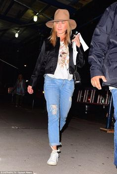 Jennifer Aniston wearing Isabel Marant Bart Sneakers, Alexander McQueen Floral Skull Tank Top, Parker Smith Girlfriend Jeans in Old Blues Destruction and Albertus Swanepoel Prairie Hat