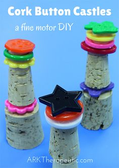 """These """"Cork Button Castles"""" are a fun and effective DIY fine motor activity. Not only are the fingers and the fingertips in charge, but the Velcro also provides an added level of resistance to really make their intrinsic muscles work. Eyfs Activities, Preschool Themes, Motor Activities, Toddler Activities, Beach Activities, Toddler Learning, Castles Topic, Chateau Moyen Age, Castle Project"""