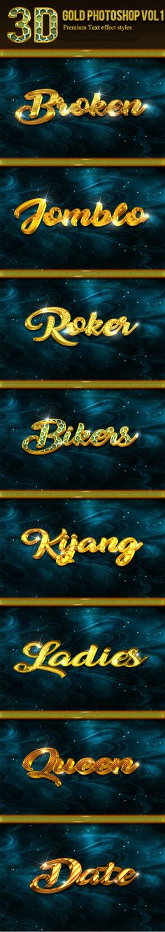 3D Gold Photoshop Vol 1 - Text Effects Styles Photoshop Text Effects, Photoshop Photos, Photoshop Brushes, Photoshop Actions, Note Fonts, 3d Typography, Vector Shapes, Game Logo, Photo Effects