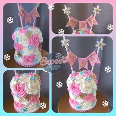 Winter Onederland 1st birthday smash cake. Rosette cakes wedding cake, birthday cake, custom cake, baby shower cake