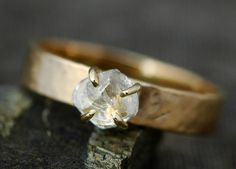 Flawless Raw Diamond on Wide Recycled Gold Band by Specimental, $3,900.00