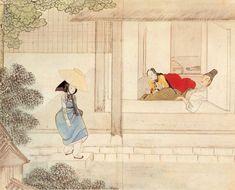 신윤복 기방무사 Korean Art, Asian Art, Korean Painting, Korean Traditional, Love Illustration, Old Paintings, Drawing Practice, Classical Art, Chinese Art