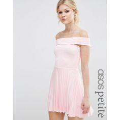 ASOS PETITE Off The Shoulder Bardot Pleated Mini Dress (135 BRL) ❤ liked on 40b7a7d2d
