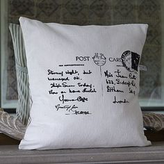 old postcards on cushions, ace