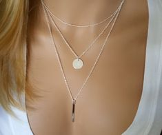 Monogram Silver Layering Necklace Layered Necklace by DRaeDesigns