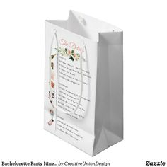 Bachelorette Party Itinerary Favor Bag Bachelorette Favors, Bachelorette Weekend, Brunch Cafe, Wedding Gift Bags, Gift Tags, How To Memorize Things, Gift Wrapping, Party, Fun