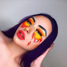 Are you looking for ideas for your Halloween make-up? Check this out for cute Halloween makeup looks. Fire Makeup, Eye Makeup Art, Sfx Makeup, Eyeshadow Makeup, Pastell Make-up, Eyeliner, Cute Halloween Makeup, Creepy Halloween, Eye Makeup Designs