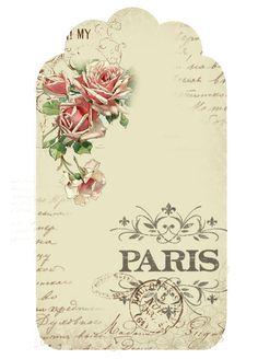 Astrid's Artistic Efforts: Springtime in Paris freebie - tag with roses Vintage Tags, Images Vintage, Vintage Labels, Vintage Prints, Vintage Style, Kalender Design, Springtime In Paris, Etiquette Vintage, Printable Labels