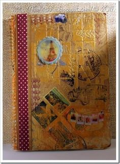 Travel journal  A lot of techniques here with stencils and clear paste