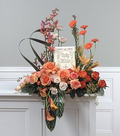 Send your love and prayers with thisgraceful arrangement of peach roses, snapdragons, gerbera daisies and calla lilies with tropical greens surrounding a bible (or Book of your choosing). Note: This product must be ordered two days in advance. If… https://plus.google.com/+HeidiRichards/posts/jeYRQTutfLz